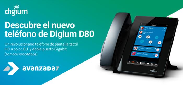 Imagen: Nuevo teléfono IP con pantalla táctil de Digium: D80