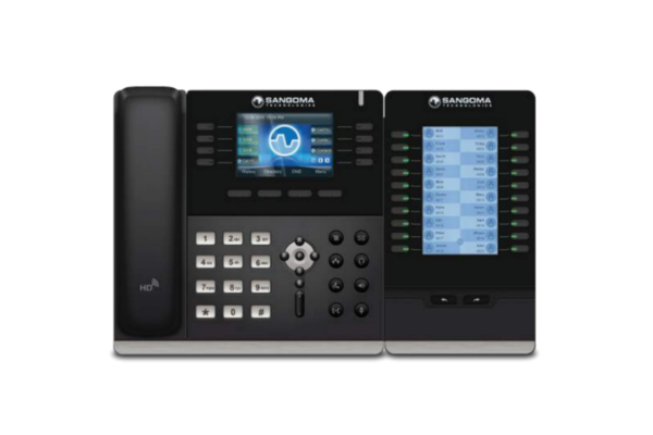 Teclado de expansión EXP 100 compatible con teléfonos IP Sangoma S500, S700 o S705; opción de concatenar hasta 6 teclados