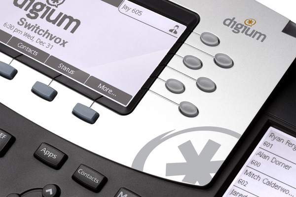 Telefono VoIP de Digium D70 con pantalla LCD y teclas programables